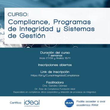 Curso «Compliance, Programas de Integridad y Sistemas de Gestión»